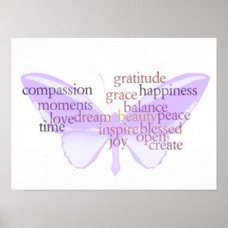 Poster de la mariposa de la alegría y de la gratit