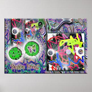 Poster de la mariposa de la rana de la paz