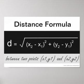 Poster de la matemáticas de la fórmula de la dista