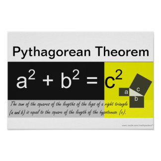 Poster de la matemáticas del teorema pitagórico