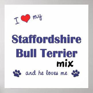 Poster de la mezcla de Staffordshire bull terrier