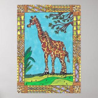 Poster de la momia y del bebé de la jirafa