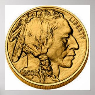 Poster de la moneda del lingote de oro del búfalo