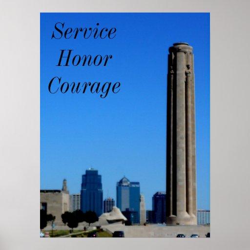 Poster de la motivación del servicio, del honor y
