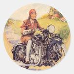 Poster de la motocicleta del vintage etiquetas redondas