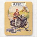 Poster de la motocicleta del vintage tapete de ratón
