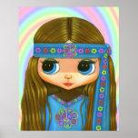 Poster de la muñeca del Hippie del flower power