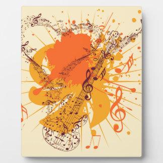 Poster de la música con la guitarra placas con fotos