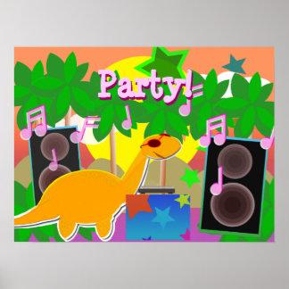 Poster de la música del dinosaurio de DJ del fiest