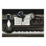 Poster de la música del piano de los gatos siamese