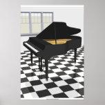 Poster de la música: Piano de cola y tejas: modelo
