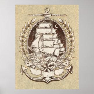 Poster de la nave del vintage