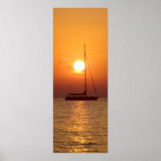 Poster de la navegación de la puesta del sol (fina
