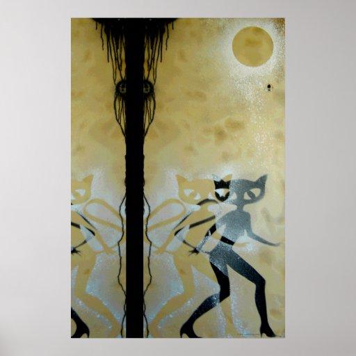 Poster de la noche del chica del gato