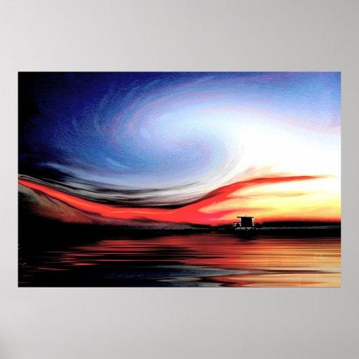 Poster de la onda de la puesta del sol