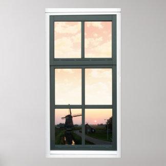 Poster de la opinión de la ventana del molino de póster