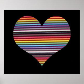 Poster de la pared del corazón del cable de cinta