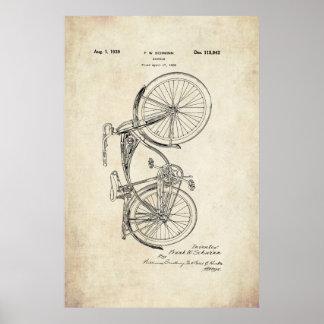 Poster de la patente de la bicicleta de Schwinn
