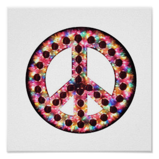 poster de la paz de 5 colores