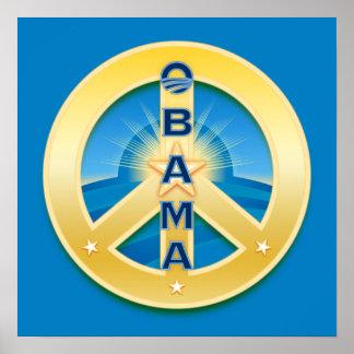 Poster de la paz de Obama Goldstar en azul