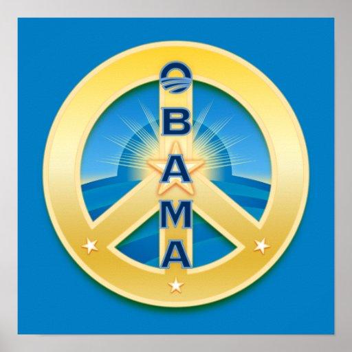 Poster de la paz de Obama Goldstar, en azul
