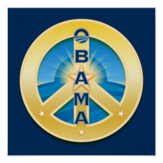 Poster de la paz de Obama Goldstar en azul real