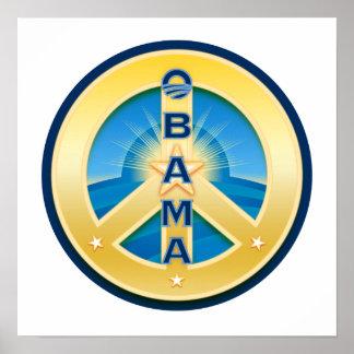 Poster de la paz de Obama Goldstar en blanco