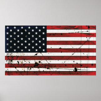 Poster de la pintura del grunge de la bandera amer