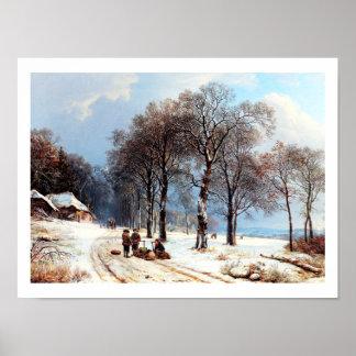 Poster de la pintura del vintage de la escena del