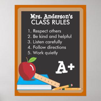 Poster de la pizarra de las reglas de la clase del