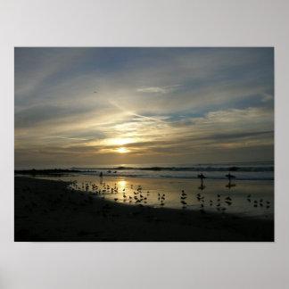 Poster de la playa de la puesta del sol de Capitol