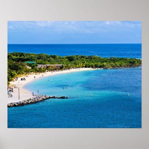 Poster de la playa de Roatan Honduras