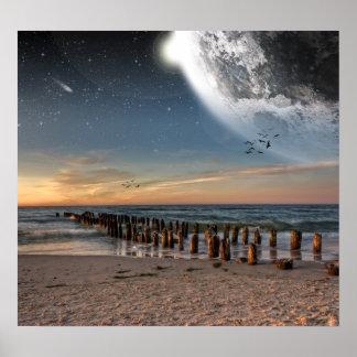 Poster de la playa de Supermoon