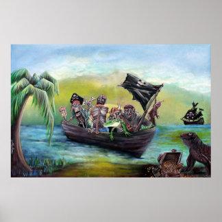 Poster de la playa del botín del pirata póster
