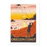 Poster de la playa y del viaje de KitesCoastVintag Tarjeta Postal
