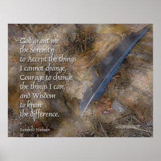 Poster de la pluma del arrendajo azul del rezo de