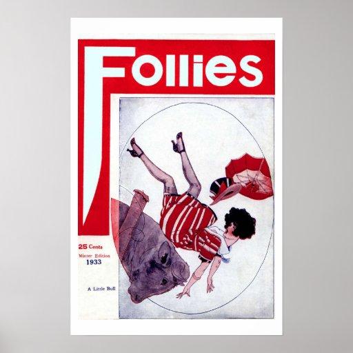 Poster de la portada de revista del vintage de las