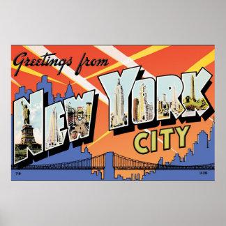 Poster de la postal del vintage de NYC