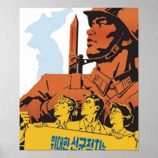 Poster de la propaganda de Corea del Norte