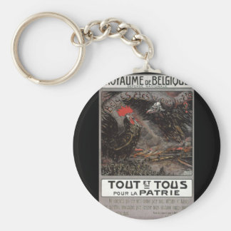 Poster de la propaganda de Royaume Belgique Llavero Redondo Tipo Pin