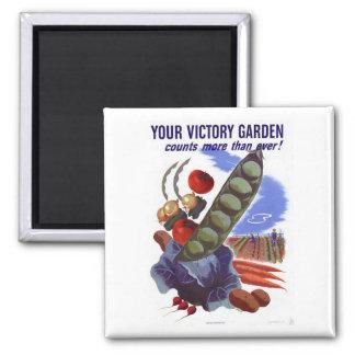 Poster de la propaganda del jardín de victoria del imán cuadrado