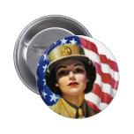 Poster de la propaganda del tiempo de guerra WW2 Pin Redondo 5 Cm