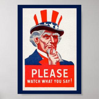 Poster de la propaganda del tío Sam WW2 del Póster
