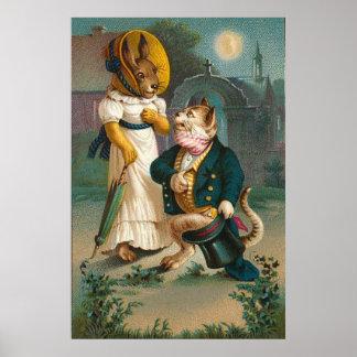 Poster de la propuesta de matrimonio del gato y de