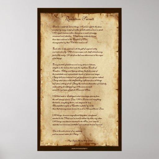 """""""Poster de la prosa de la sabiduría de los secreto Póster"""