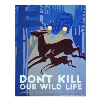 """Poster de la protección de la fauna de WPA del Invitación 4.25"""" X 5.5"""""""