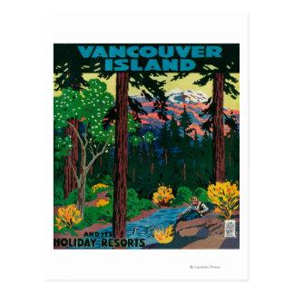 Poster de la publicidad de la isla de Vancouver Postales