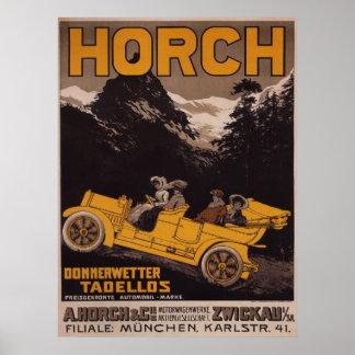 Poster de la publicidad del automóvil de HORCH