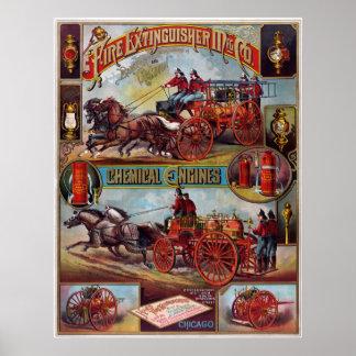Poster de la publicidad del extintor del vintage
