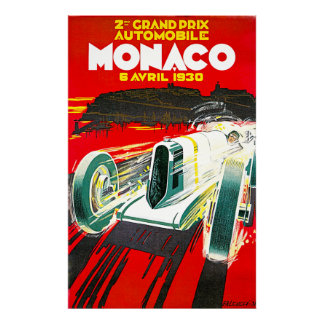 Poster de la publicidad del vintage de Mónaco Gran